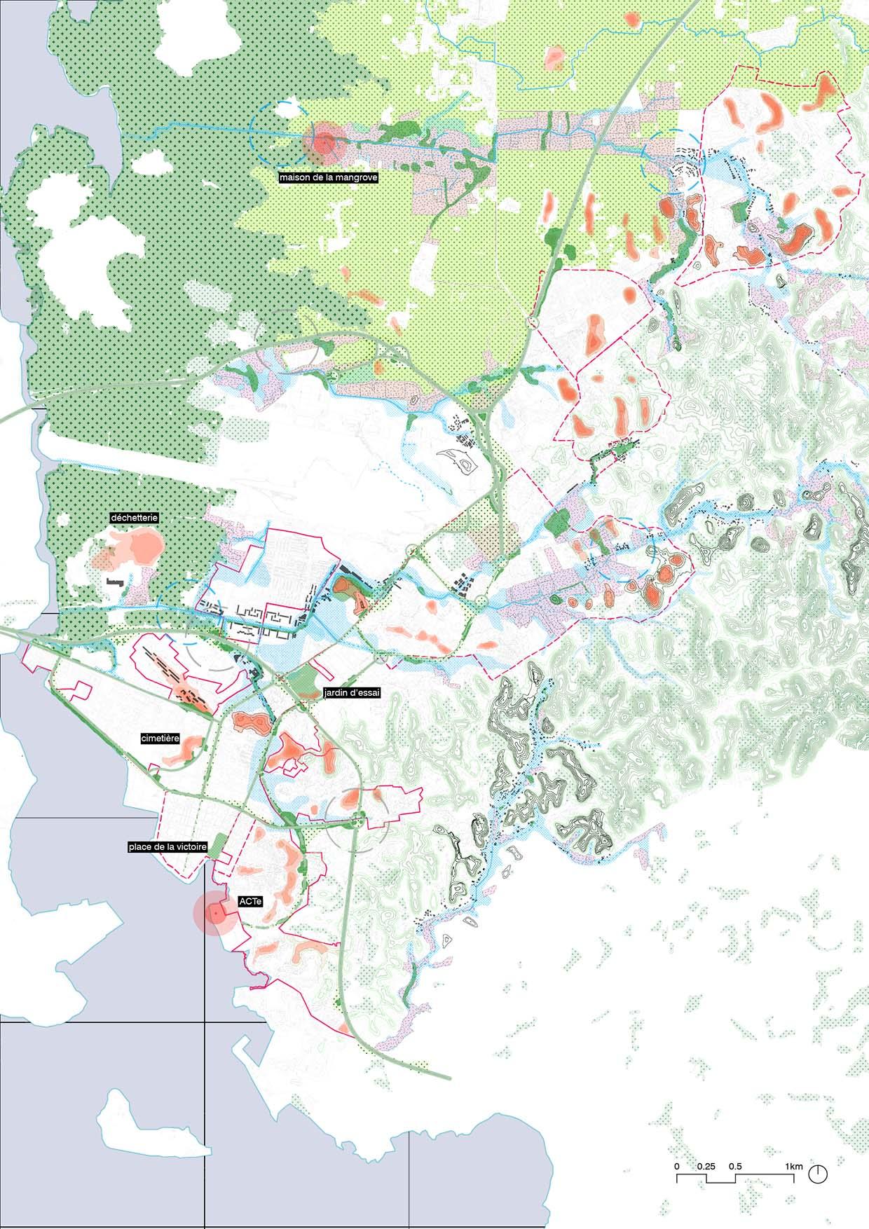 schéma de territoire, du paysage, de la topographie et des natures de point-à-pître les abymes