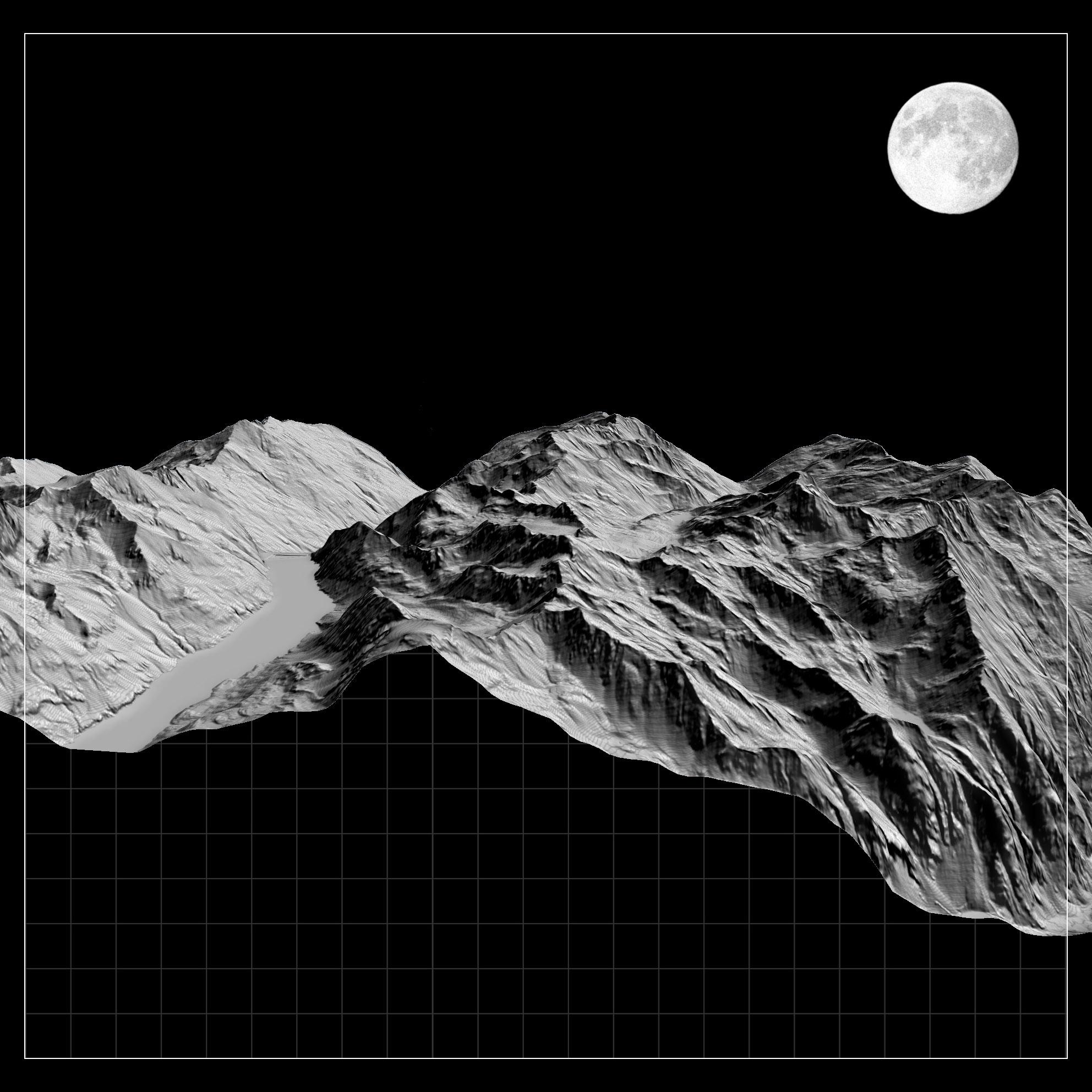 diane Relief issu d'un MNT, montagne sous la lune issu du laboratoire actéon